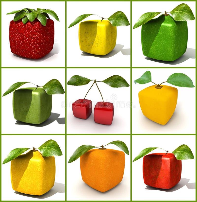 立方体果子拼贴画 向量例证