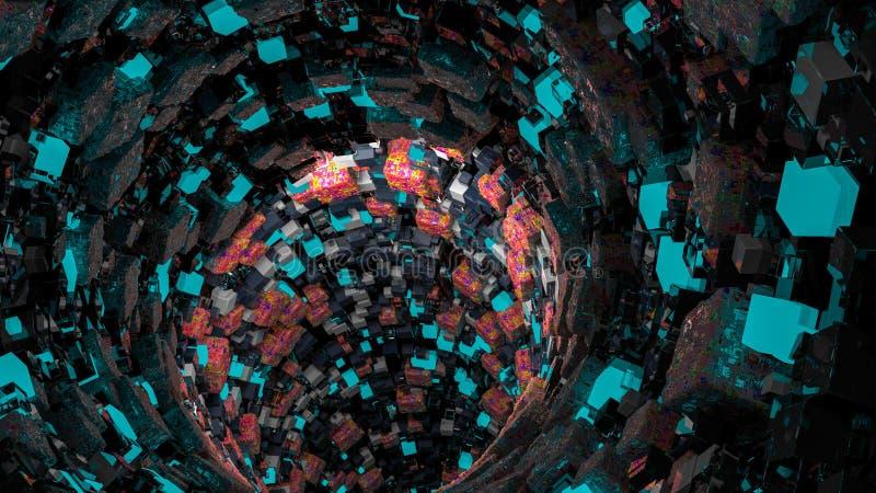 立方体漏斗  上升和下降的几何形状 立方体横断面等量形式 3d例证 3d翻译 免版税图库摄影
