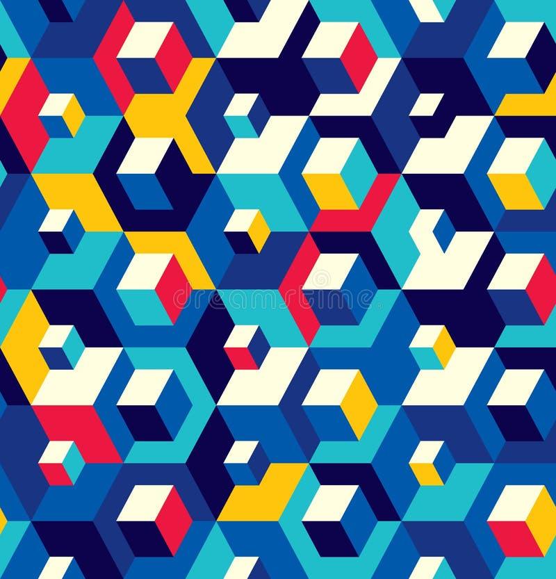 立方体的抽象无缝的周围样式 光学作用 皇族释放例证
