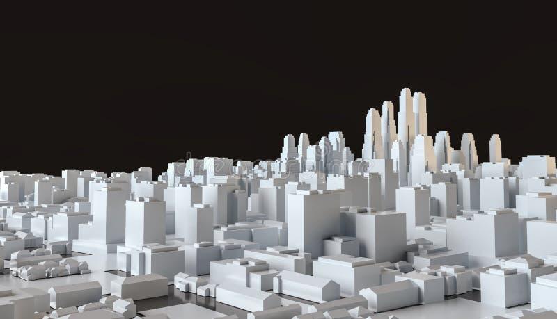 从立方体的白色抽象城市在黑背景 向量例证