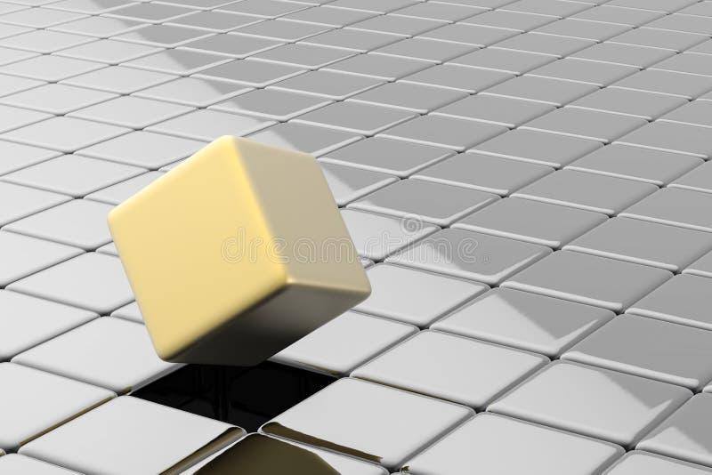 立方体的金子突然出现 库存例证