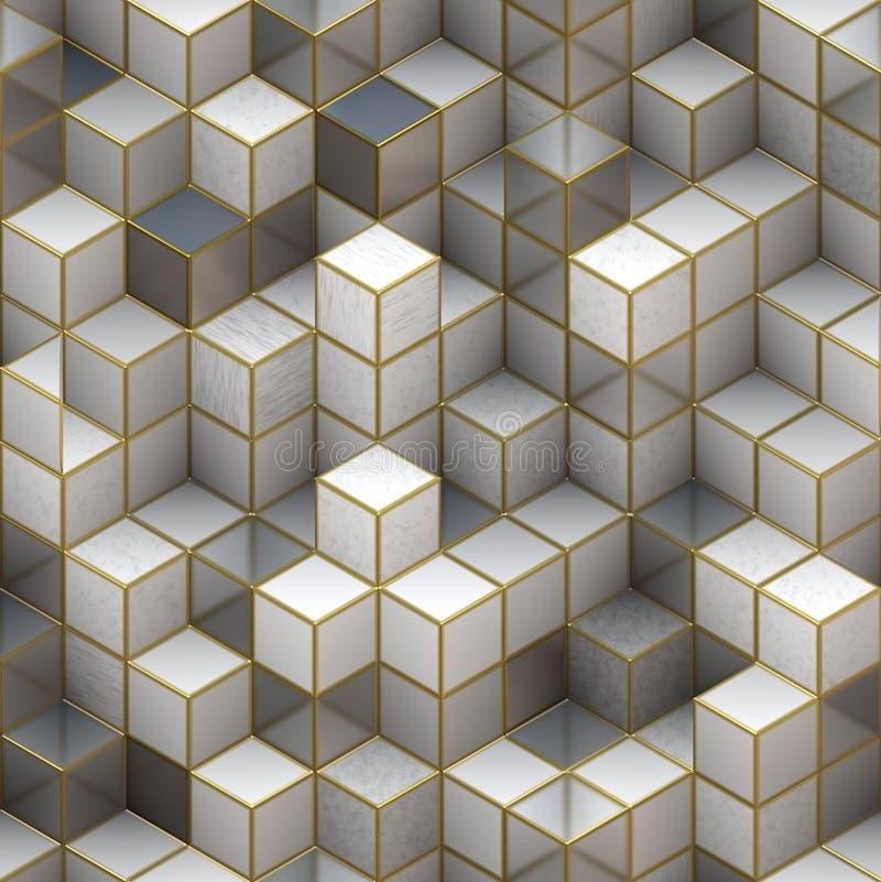 从立方体的建筑结构。抽象建筑学背景 向量例证
