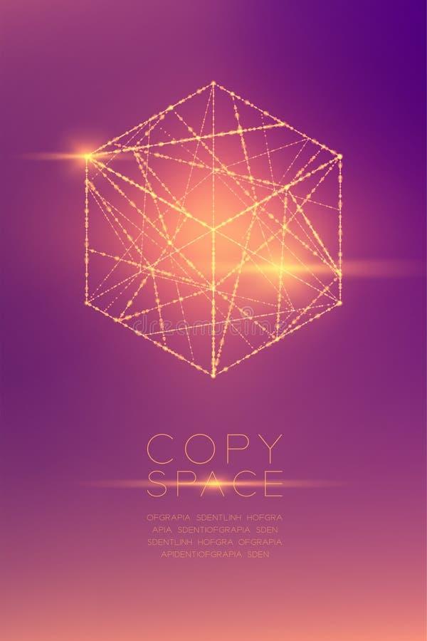 立方体箱子等量wireframe多角形bokeh光框架结构和透镜飘动,经营战略构思设计例证 向量例证