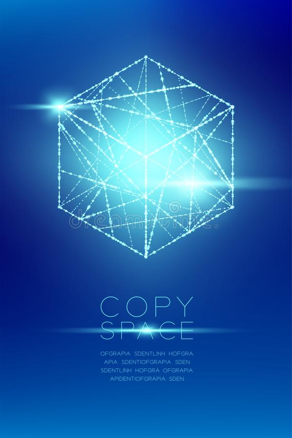 立方体箱子等量wireframe多角形bokeh光框架结构和透镜飘动, Blockchain cryptocurrency构思设计illustra 皇族释放例证