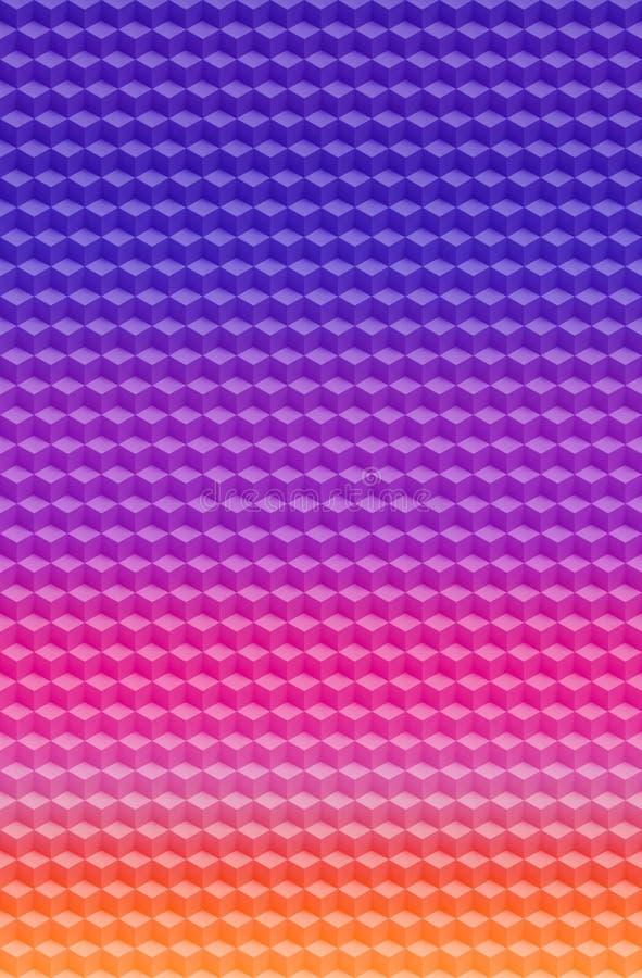 立方体紫色桃红色几何3D样式摘要背景,例证 皇族释放例证