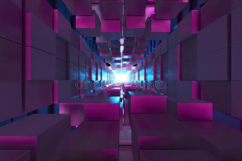 立方体背景、道路向光,塑料桃红色和蓝色背景的抽象图象 向量例证