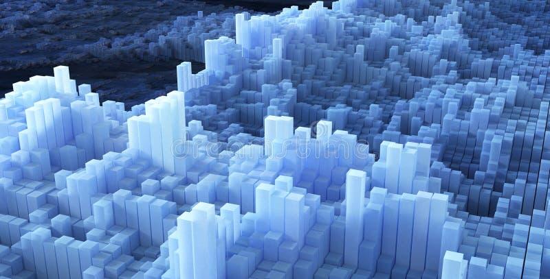 立方体背景的抽象图象在被定调子的蓝色的 向量例证
