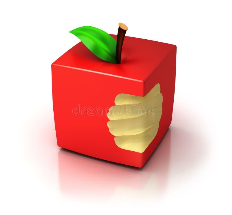 立方体苹果 库存例证
