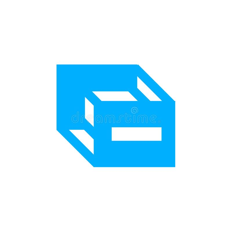 立方体象在白色背景和标志隔绝的传染媒介标志,立方体商标概念 皇族释放例证