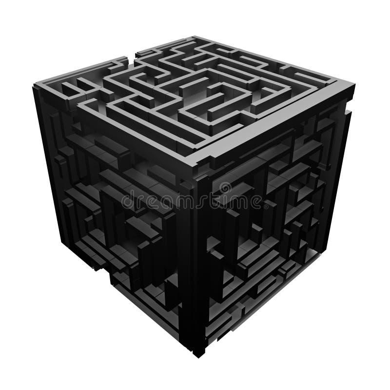 黑立方体迷宫 库存例证