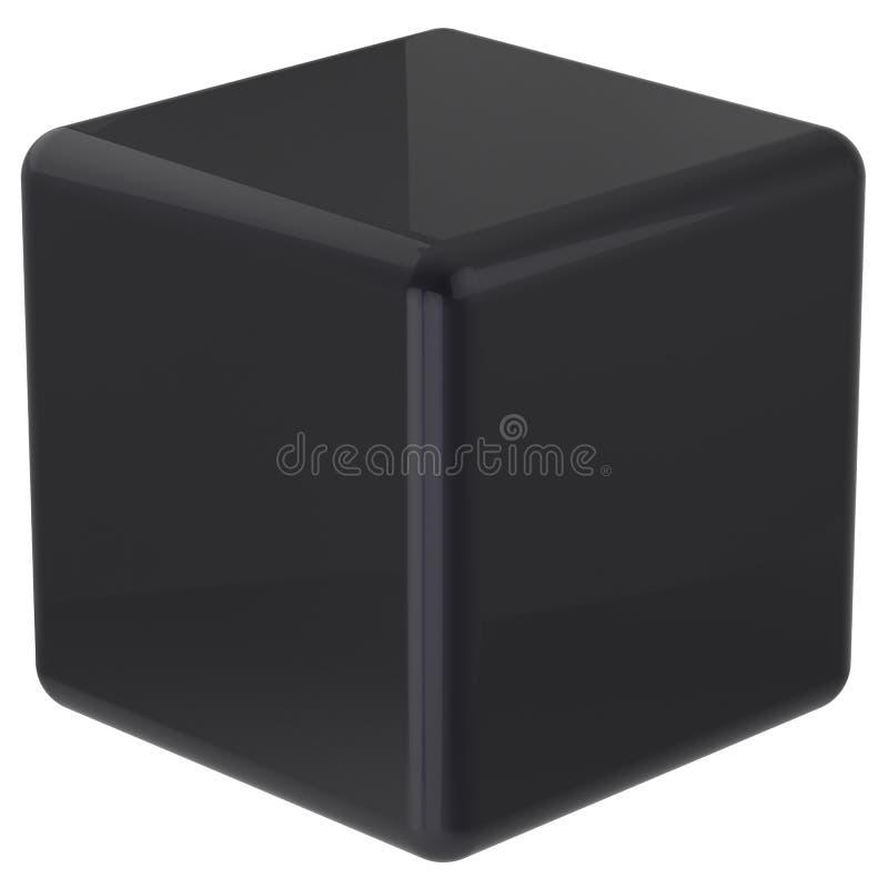 立方体黑几何形状模子块基本的箱子方形的砖 向量例证