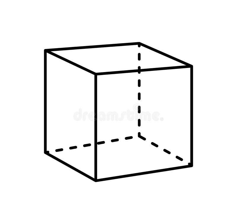 立方体黑投射被隔绝的几何图  皇族释放例证