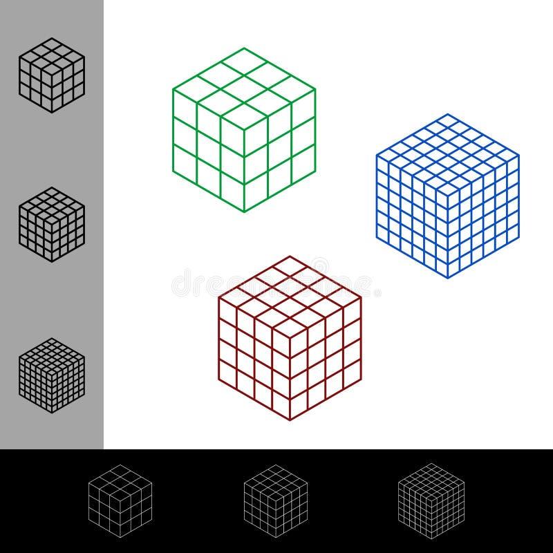 立方体wireframe集合 传染媒介概述例证 等量projec 向量例证