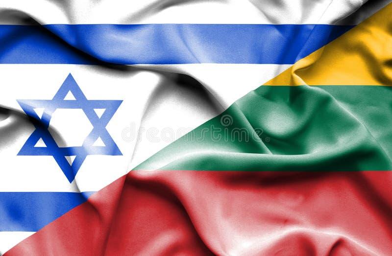 立陶宛和以色列的挥动的旗子 向量例证