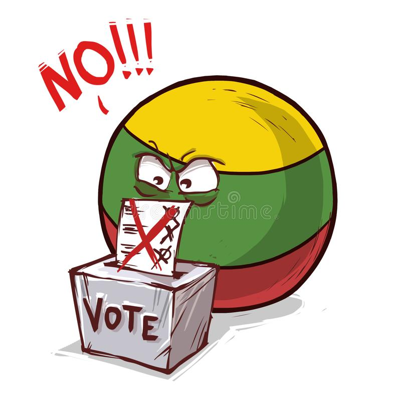 立陶宛投反对票国家的球 库存例证