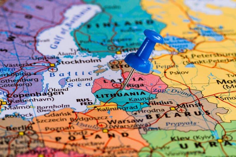 立陶宛映射 免版税库存照片