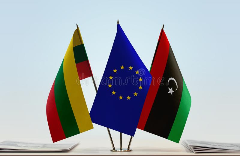 立陶宛欧盟和利比亚的旗子 库存例证
