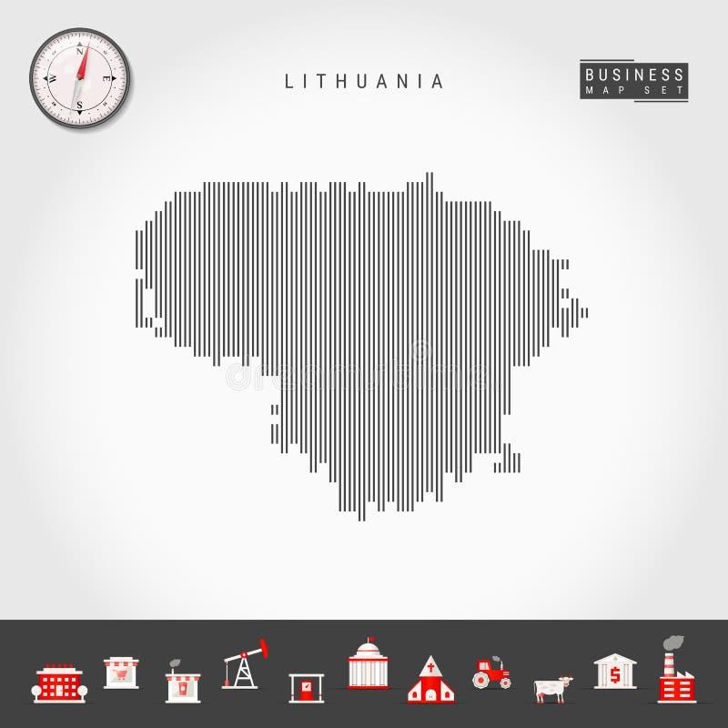 立陶宛的传染媒介垂直线地图 立陶宛的镶边剪影 现实指南针 r 皇族释放例证