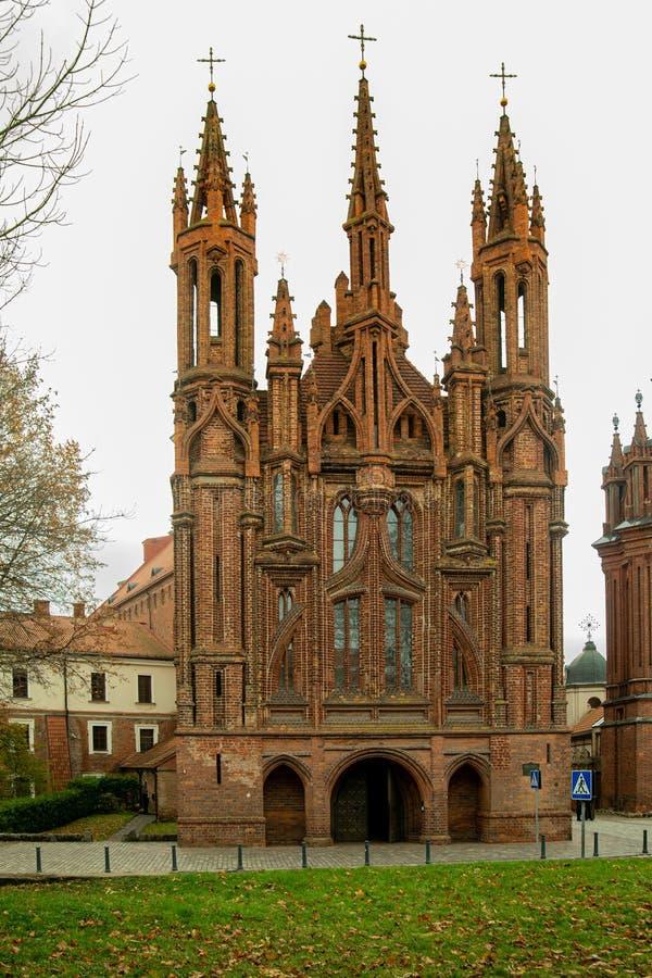 立陶宛维尔纽斯圣安娜教堂 免版税库存照片
