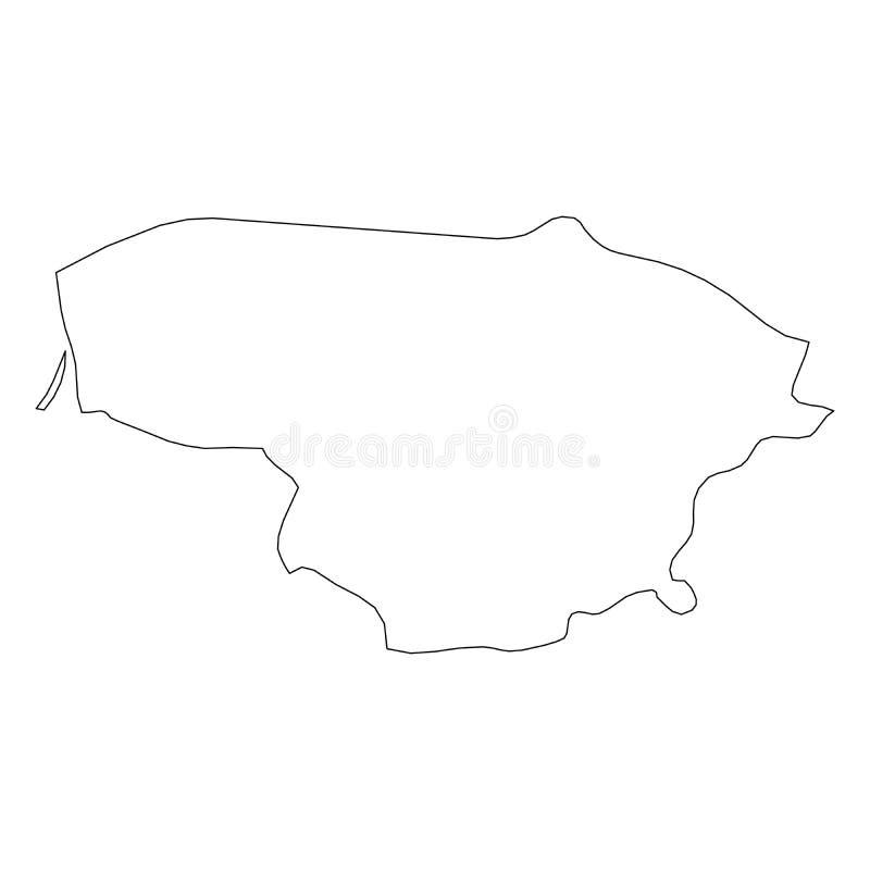 立陶宛-国家区域坚实黑概述边界地图  简单的平的传染媒介例证 向量例证