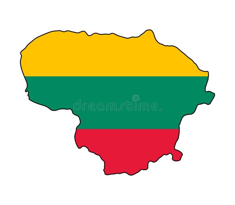 立陶宛 立陶宛传染媒介例证地图  库存例证