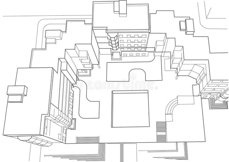 建立顶视图的多故事建筑剪影 向量例证