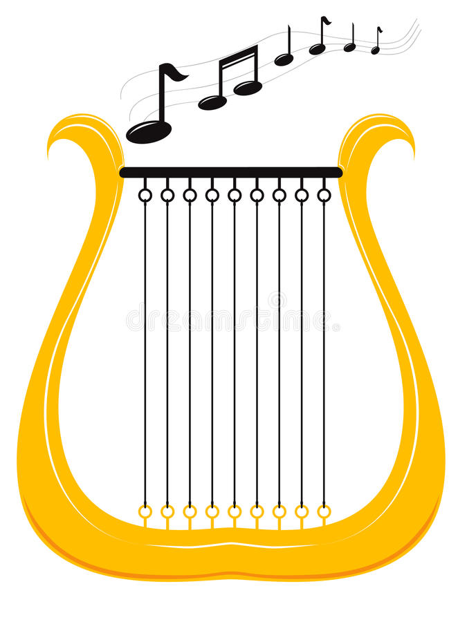 竖琴音乐 库存图片