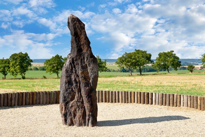 竖石纪念碑石牧羊人, Klobuky,捷克共和国 库存图片