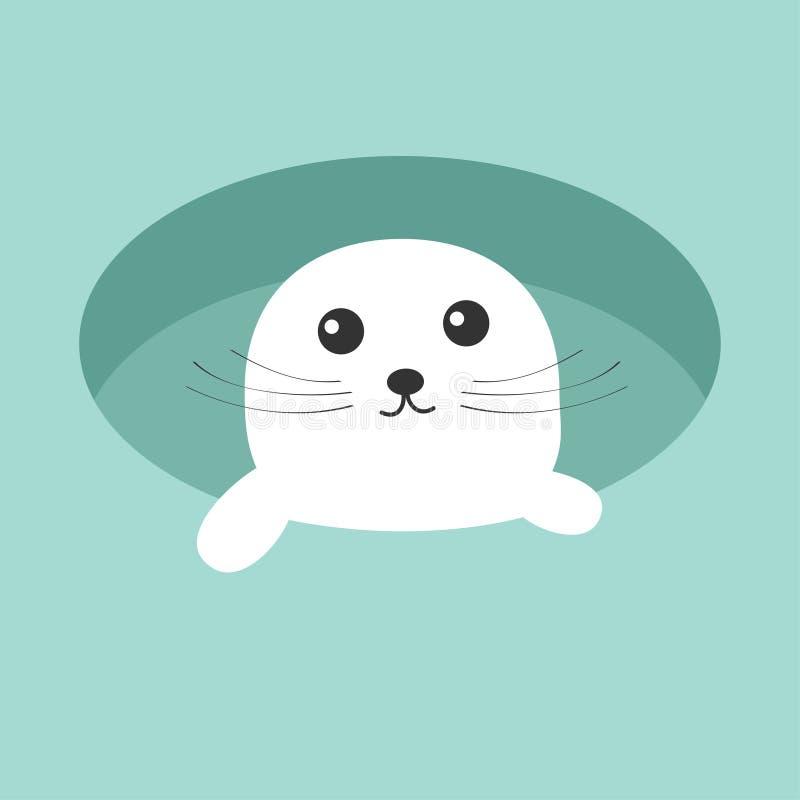竖琴海狮幼崽小狗 冰孔逗人喜爱的漫画人物 背景看板卡祝贺邀请 平的设计 向量例证