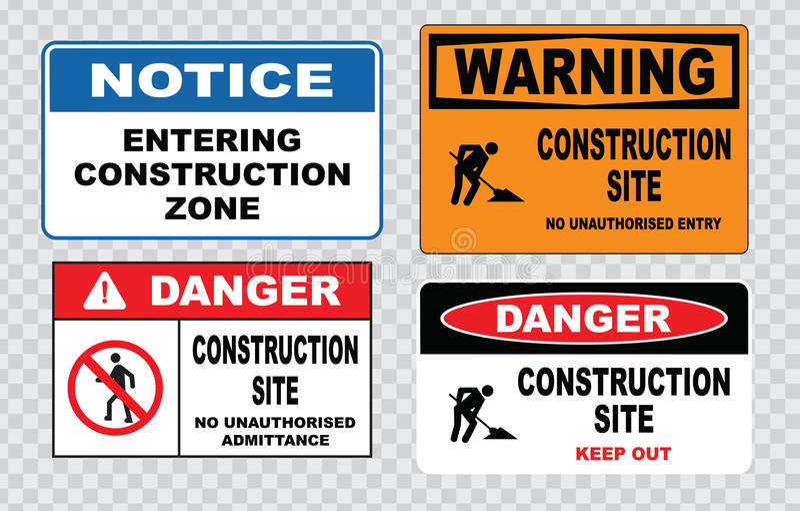 站点安全标志或建筑安全 库存例证