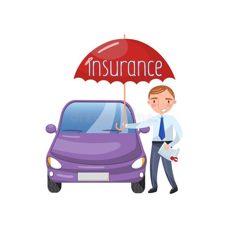 站立与伞保护的汽车,汽车保险概念动画片传染媒介例证的保险代理公司 向量例证