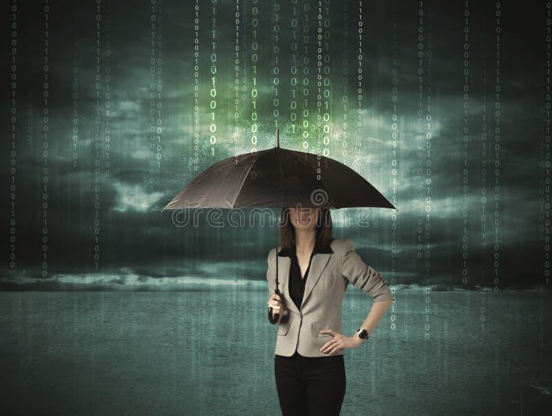 站立与伞数据保护概念的女商人 免版税库存图片