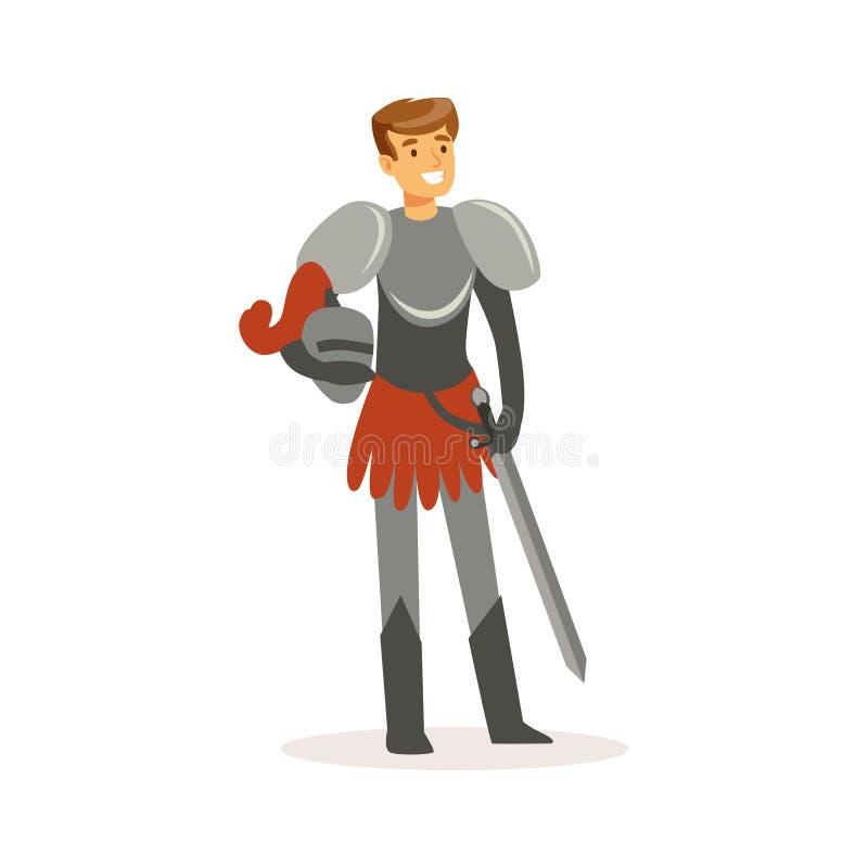 站立与剑,欧洲中世纪字符五颜六色的传染媒介例证的微笑的骑士 向量例证