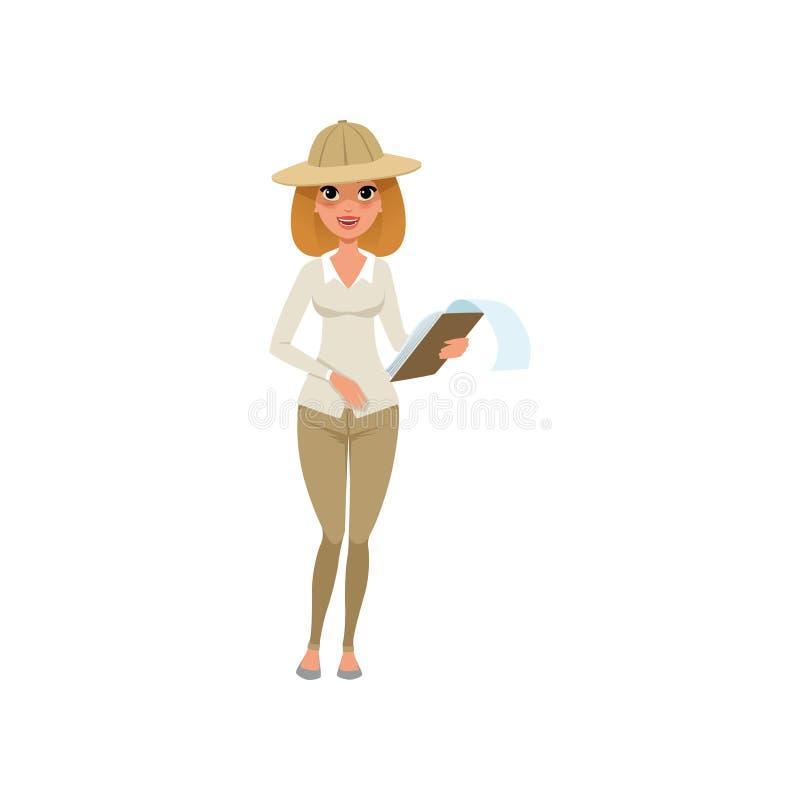 站立与剪贴板的美丽的考古学家妇女在手上 在帽子、裤子和女衬衫的动画片女性角色 皇族释放例证