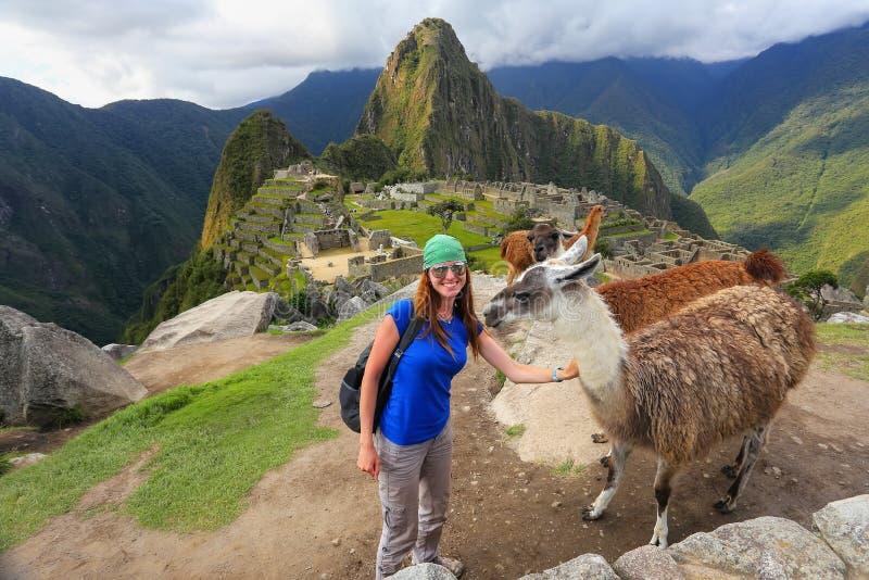 站立与友好的骆马的少妇在马丘比丘overlo 库存图片