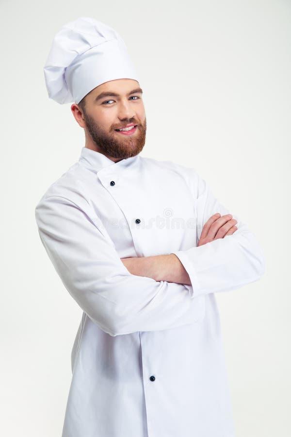 站立与双臂的厨师厨师被交叉 免版税库存图片