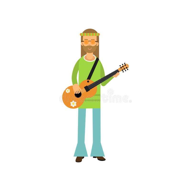 站立与吉他的平的动画片人嬉皮 与长的头发的无忧无虑的有胡子的男性蓝色和绿色60穿戴了 向量例证