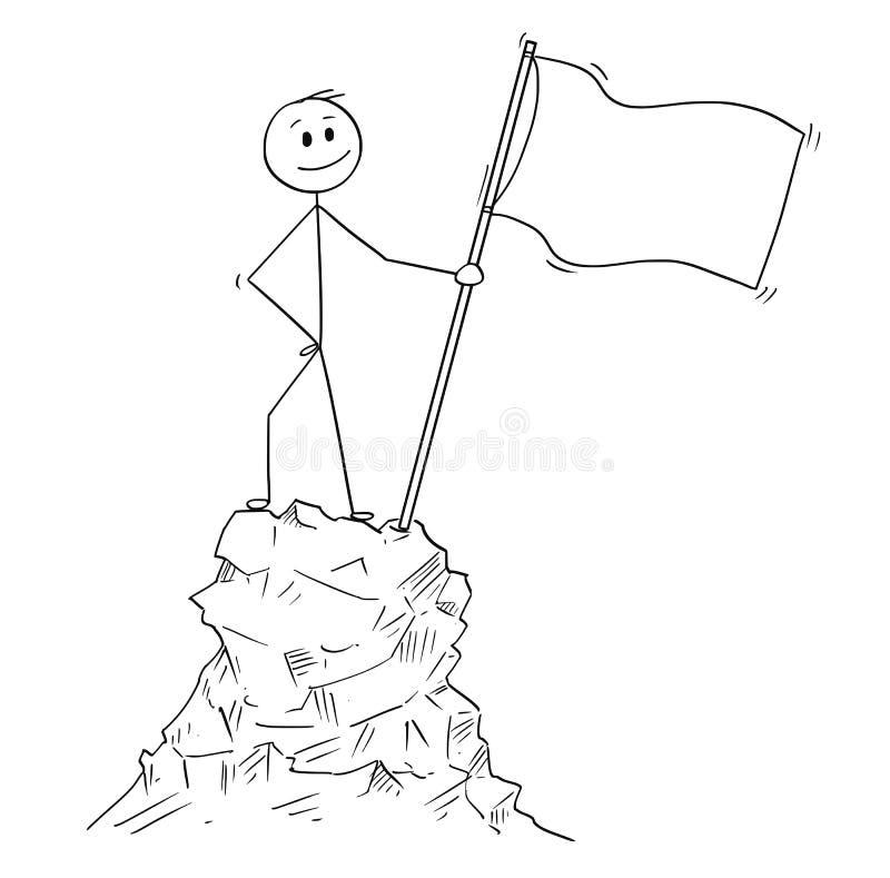 站立与在上面的山的旗子或峰顶的商人动画片 向量例证