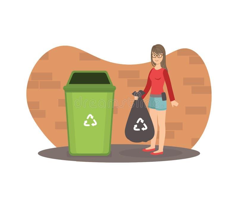 站立与垃圾袋的年轻女人在垃圾容器,女孩投掷的垃圾附近到垃圾桶传染媒介例证里 库存例证