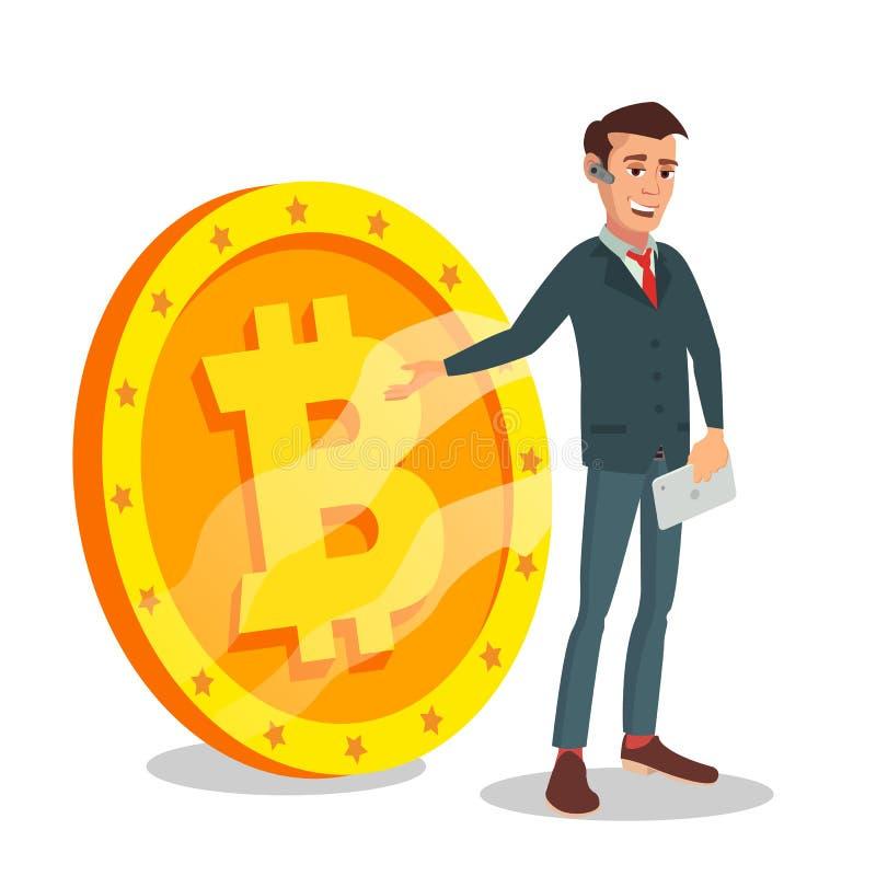 站立与大Bitcoin标志传染媒介的商人 数字式金钱 Cryptocurrency投资概念 查出在白色 向量例证