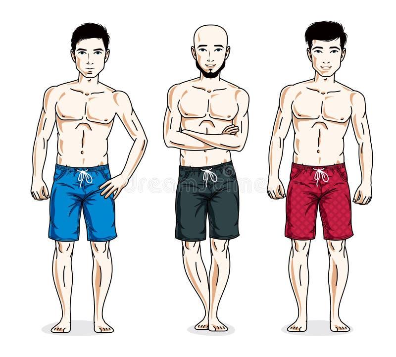 站立与完善的身体的英俊的人,佩带的海滩短缺 v 向量例证