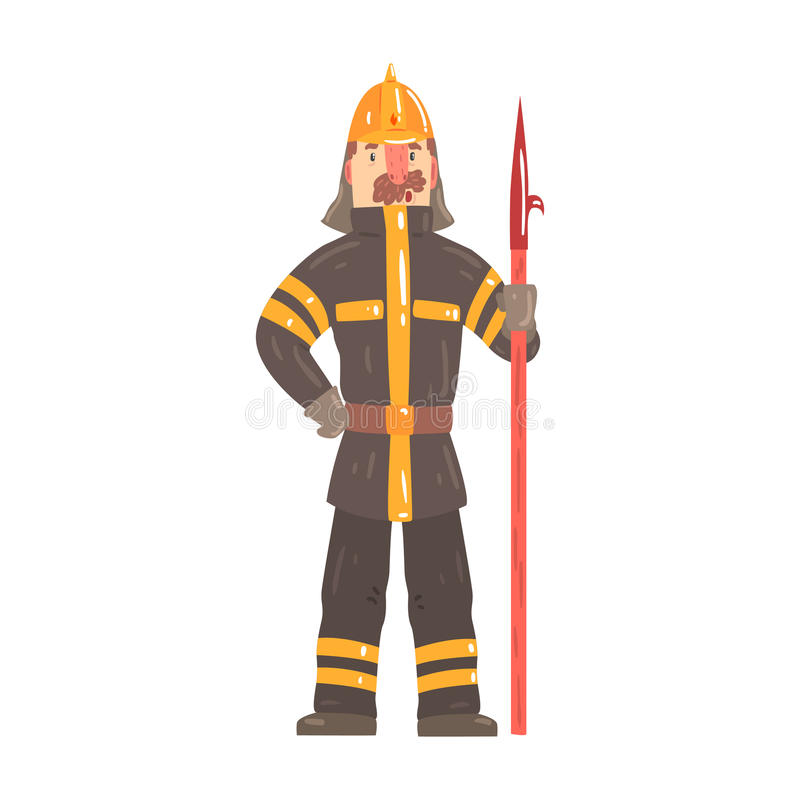 站立与小块工具漫画人物传染媒介例证的安全帽和防护套服的消防队员 向量例证