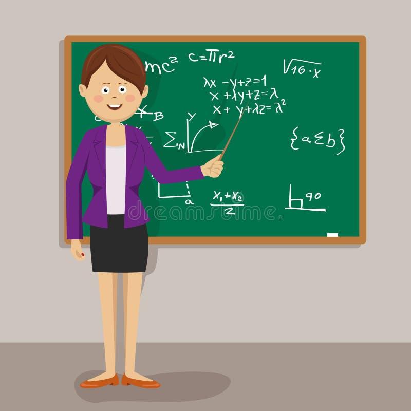 站立与尖的女老师在黑板旁边在教室 皇族释放例证