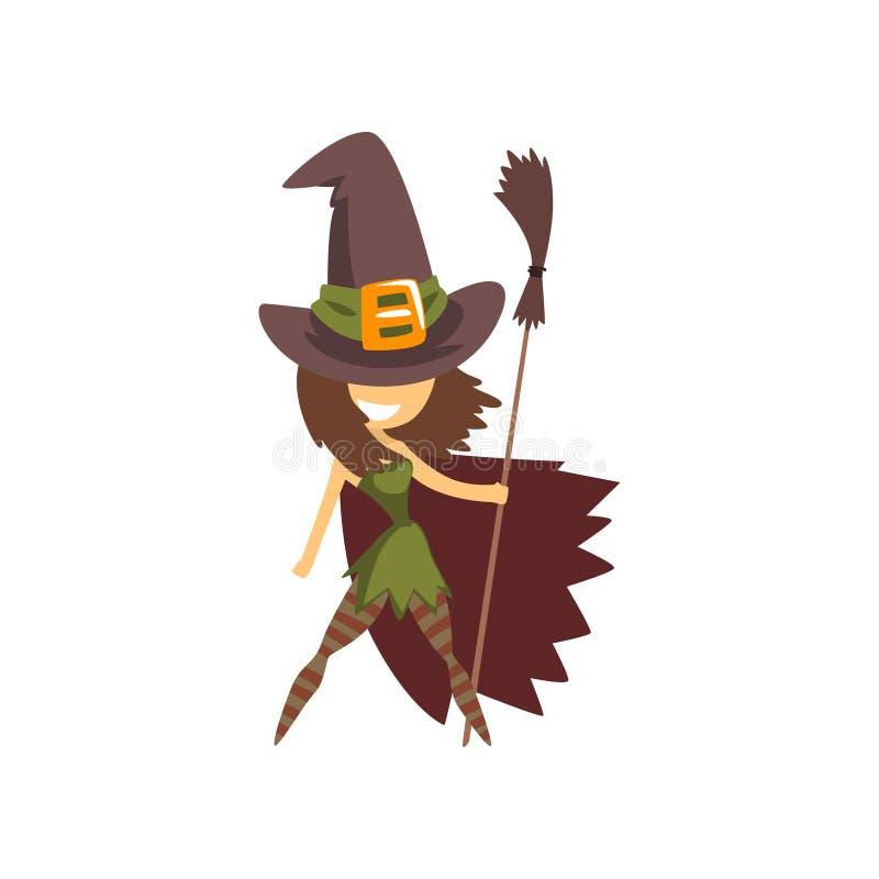 站立与帚柄,万圣夜服装动画片传染媒介例证的女孩的逗人喜爱的小的巫婆字符在白色 皇族释放例证