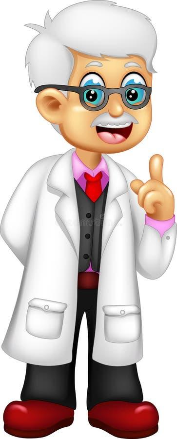 站立与微笑和拇指p的滑稽的教授动画片 皇族释放例证