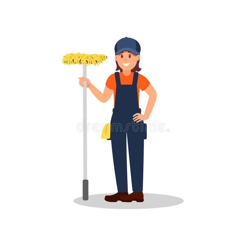 站立与拖把的快乐的妇女 清洁公司,服务 运转的制服的女孩 五颜六色的平的传染媒介设计 皇族释放例证