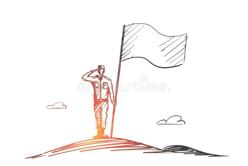 站立与旗子的手拉的爱国者战士 向量例证