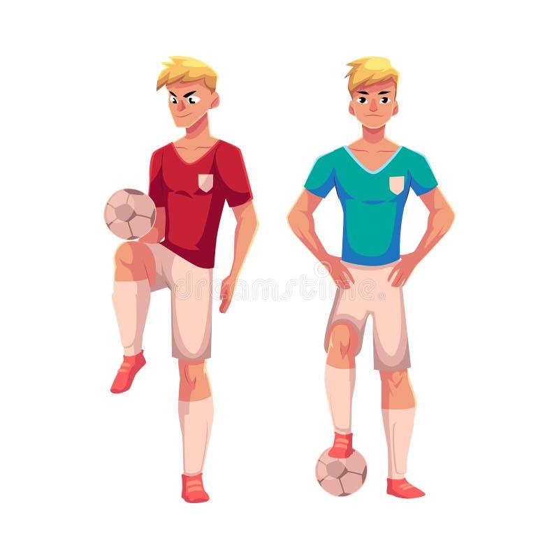 站立与橄榄球球的制服的英俊的白肤金发的足球运动员 库存例证