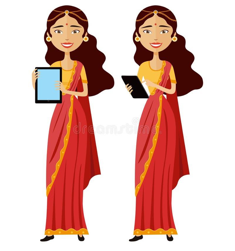 站立与片剂的印地安微笑的女商人被隔绝  库存例证