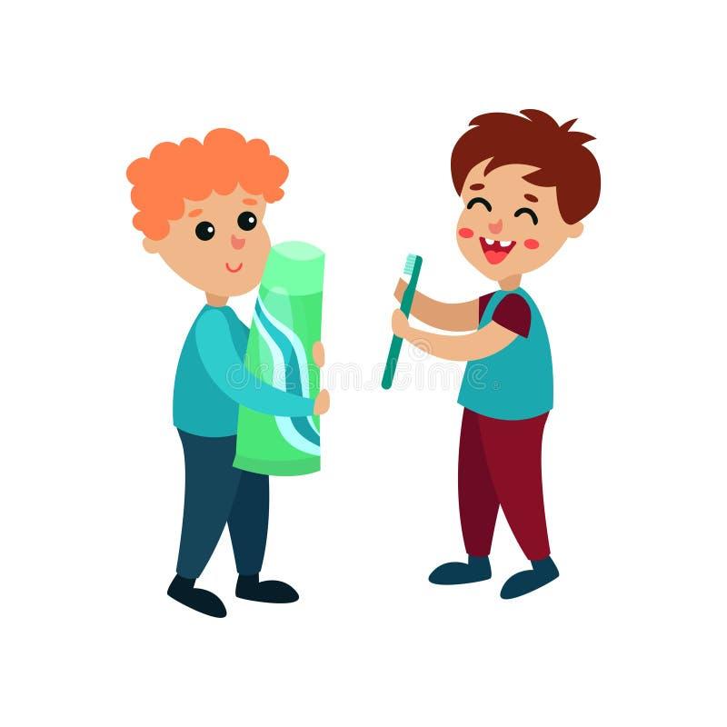站立与牙膏和牙刷动画片的逗人喜爱的小男孩字符导航例证 皇族释放例证